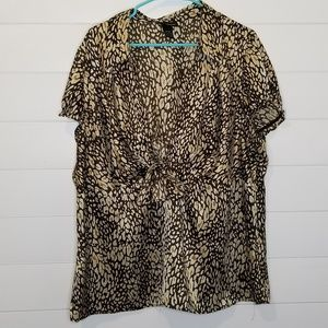 Lane Bryant Tie Front Short Sleeve Blouse 22/24